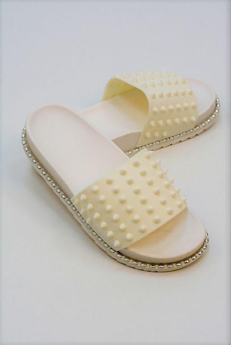 White Chunky Spike Studded Sliders