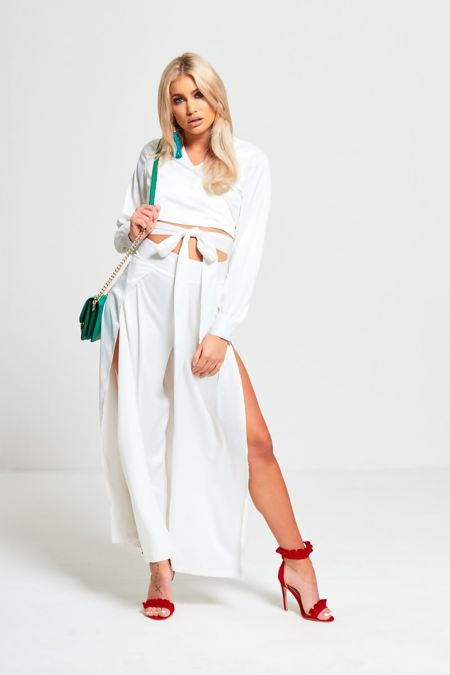 White Cross Over Tie Crop Top and Trouser Set
