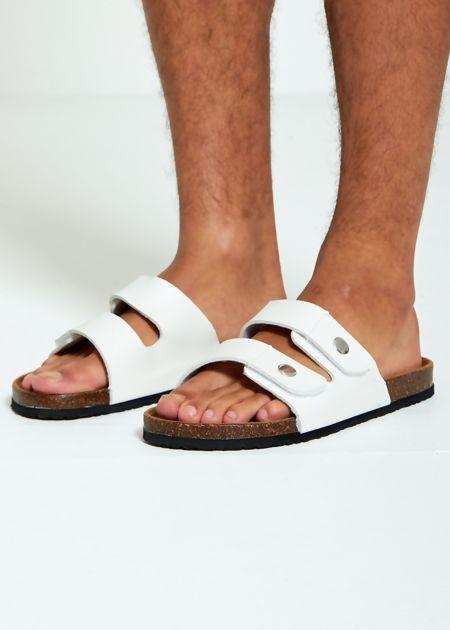 White Double Strap Sandals