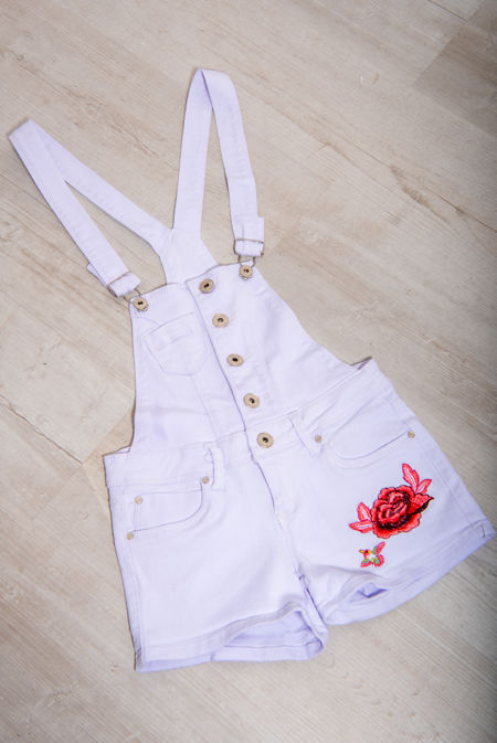 White Embroidered Short Dungaree