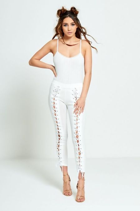 White Lace Up Leggings