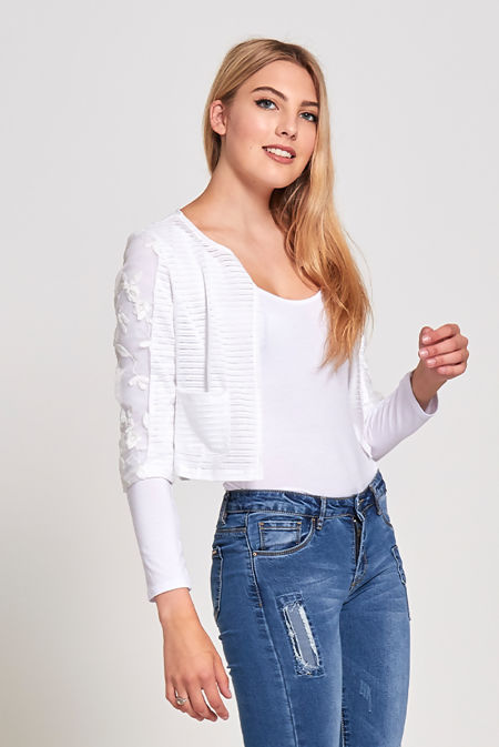 White Mesh Stripe Pocket Shrug