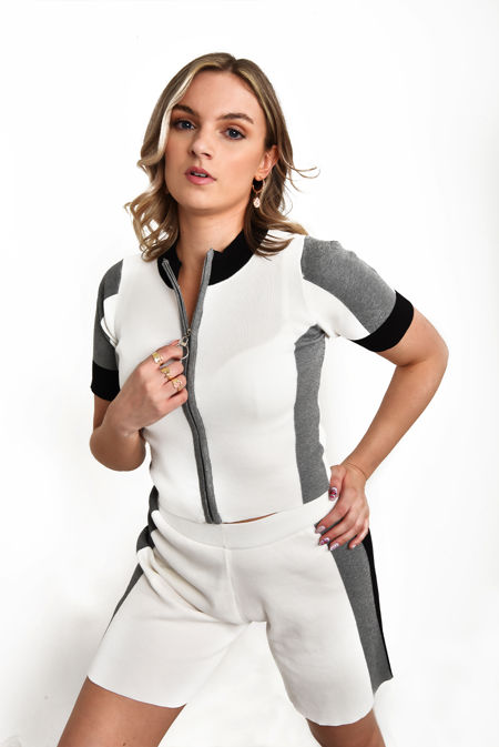 White Premium O-Ring Zip Front Color Block Soft Knit Co-ord