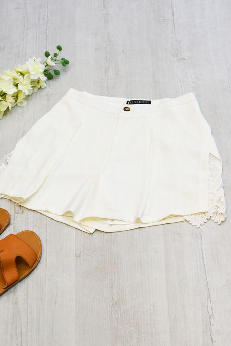 White Split Side Lace Detail Floaty Shorts