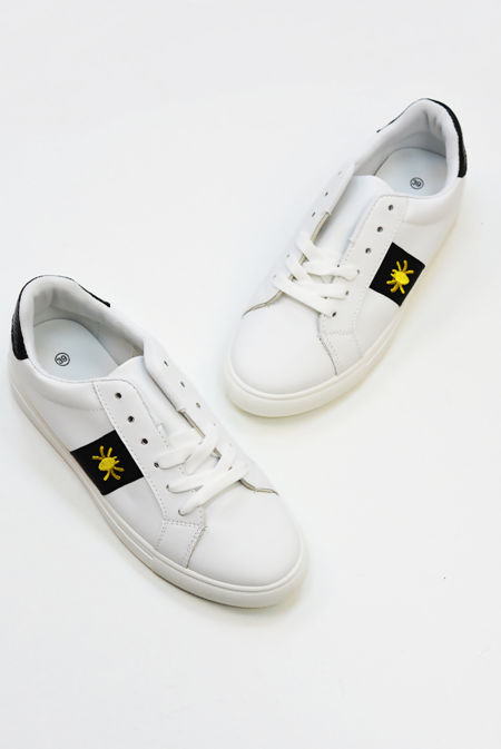 White Trainers With Black Stripe