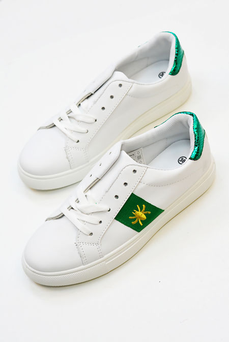 White Trainers With Green Stripe