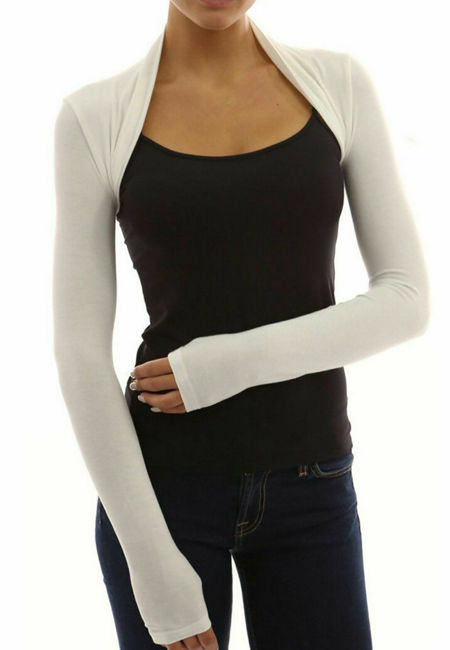 Cream Viscose Cropped Plain Shrug