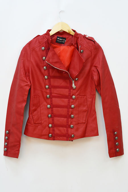 Wine Button Detail Leather Jacket