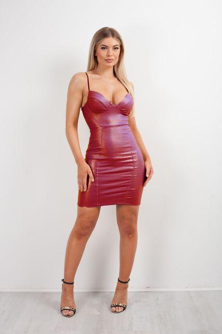 Wine Glitter Bralet Leather Bodycon Dress