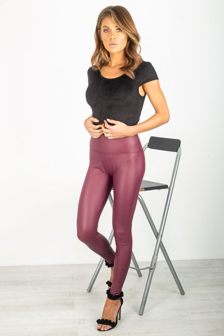 Wine Leather Look High Waist Leggings