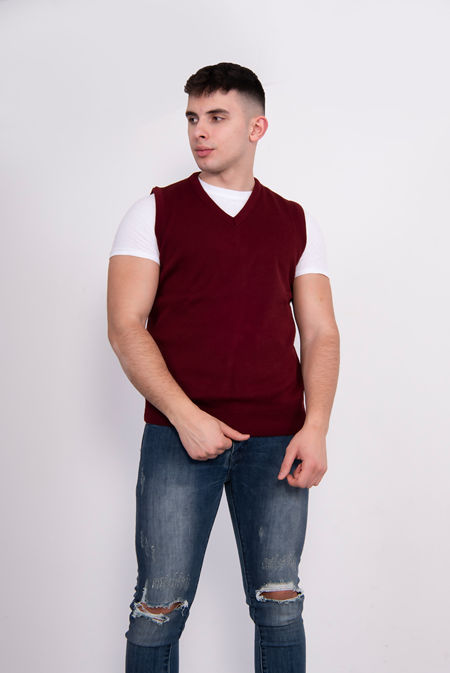 Wine V-Neck Sleeveless Knitted Jumper