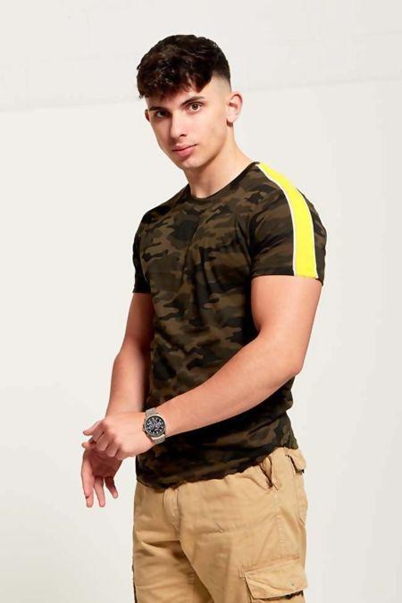 Yellow Camo Shoulder Stripe T-Shirt