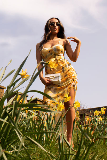 Yellow Floral Spaghetti Straps High Slit Asymmetric Playsuit