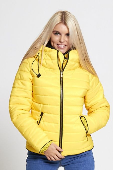 Yellow Quilted Padded Puffer Bubble Fur Collar Jacket
