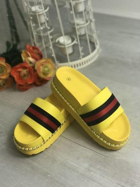 Yellow Studded Sole Flatform Sliders
