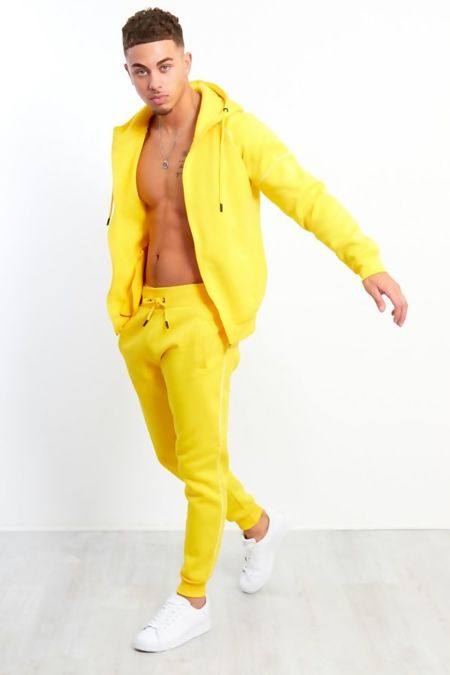Yellow Zip Through Hooded Tracksuit Preorder