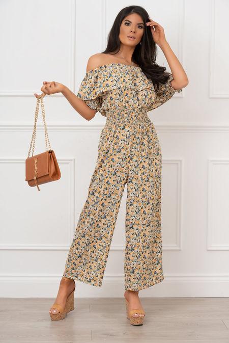 Yellow Floral Shirred Waist Bardot Jumpsuit