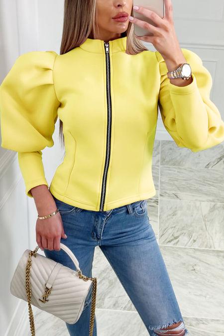 Yellow Puff Sleeve Zip Up Jacket