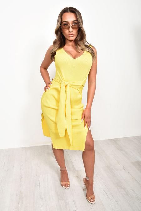 Yellow Ribbed Tie Wait Dress