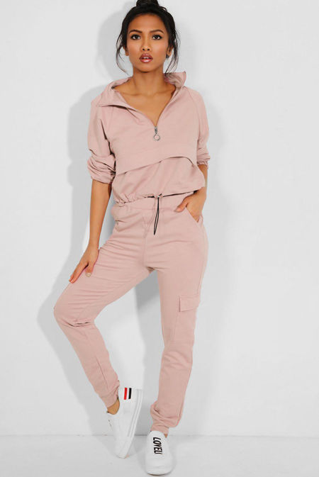 Zip Drawstring Top and Cargo Joggers Tracksuit