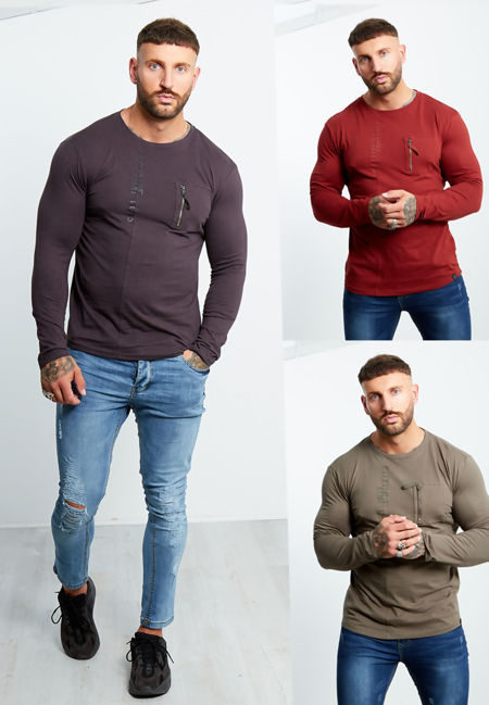 Zip Pocket Front Long Sleeve T-shirt