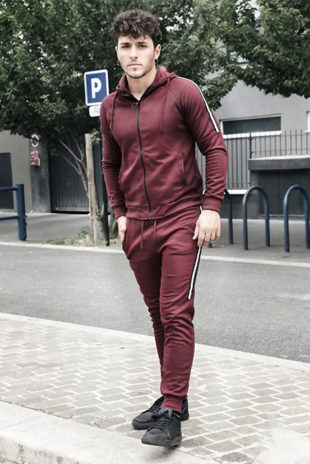 Wine Zip Through Skinny Tracksuit With Side Stripe