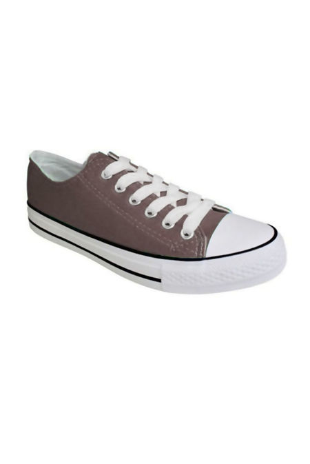 Brown Canvas Flat Lace Up Trainers