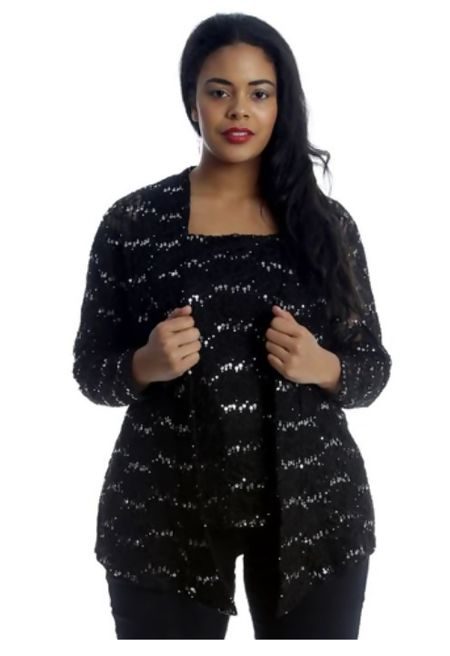 Plus Size Black Sequin Two piece Cami and Cardigan Set