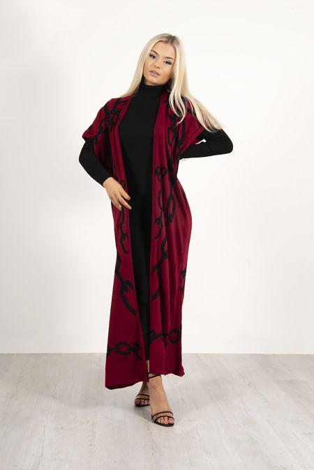 Black Roll Neck Rib Midi Dress With Contrast Cardigan