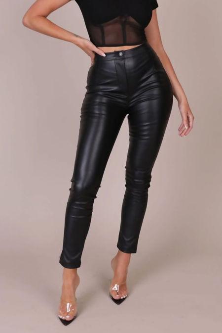 Black High Rise Faux Leather Pants