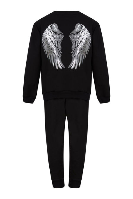 Girls Black Sequin Angel Wings Back Loungewear