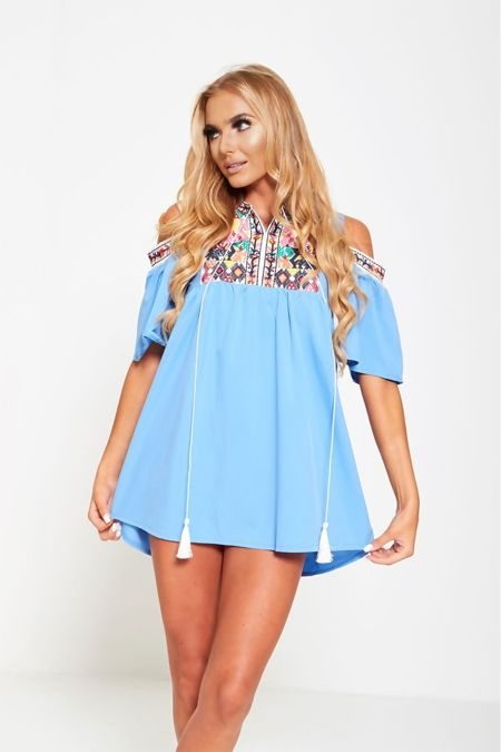 Blue Embroidered Cold Shoulder Boho Mini Dress