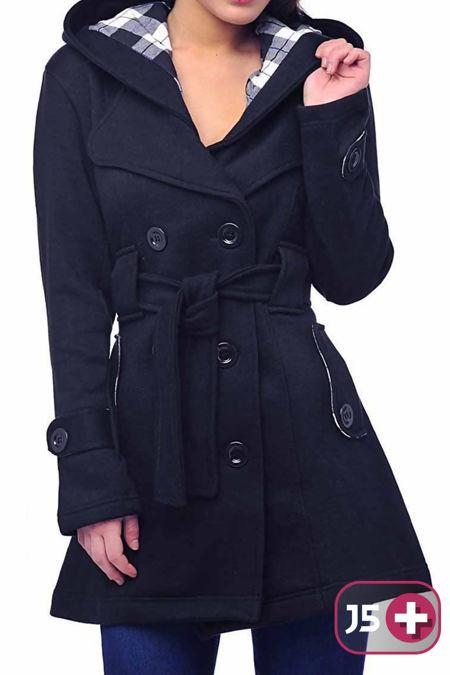Plus Size Navy Double Breast Coat