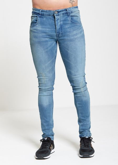 Skinny Fit Blue Wash Distress Jeans
