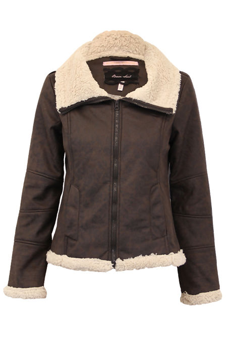 Brown Sherpa Lined Pu Biker Jacket