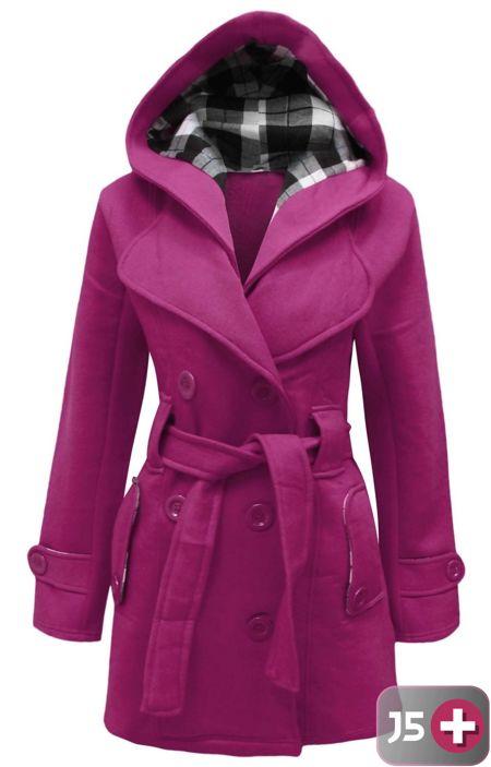 Plus Size Fuchsia Double Breast Coat