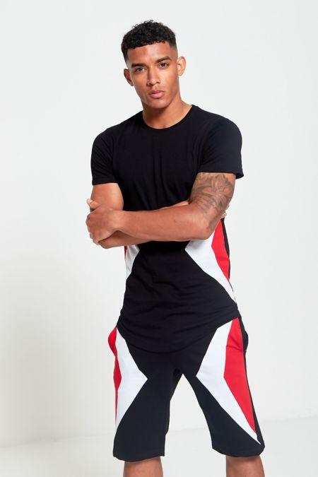 Black Contrast Side Diagonal T-Shirt and Short Set