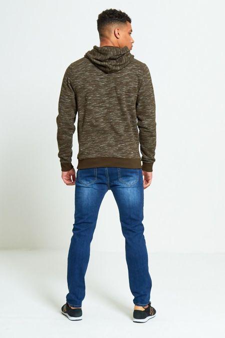 Khaki Space Dye Zip Up Hoodies
