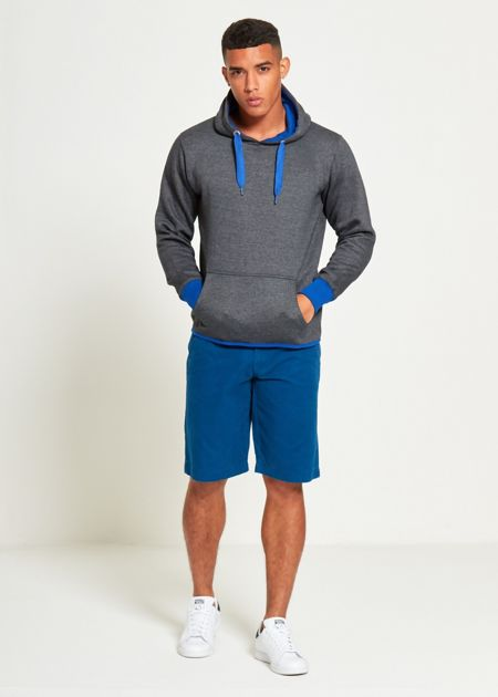 Charcoal With Blue Contrast Pullover Hoodie