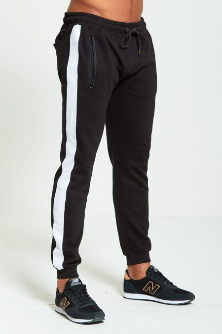 White Tape Black Skinny Fit Jogging Bottom