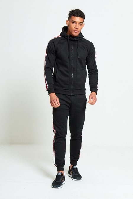 Black With White Red Stripe Skinny Fit Tracksuit