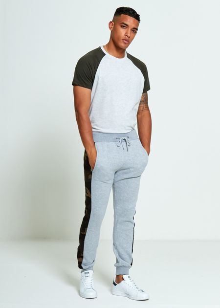 Grey Skinny Fit Camo Stripe Jogging Bottom