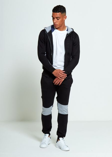 Black Skinny Fit Panel Hooded Tracksuit
