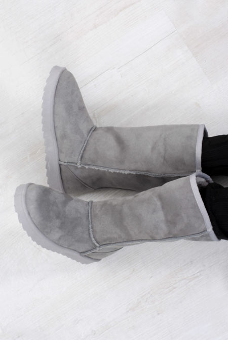 Grey Suede Shearling Slipper Boots