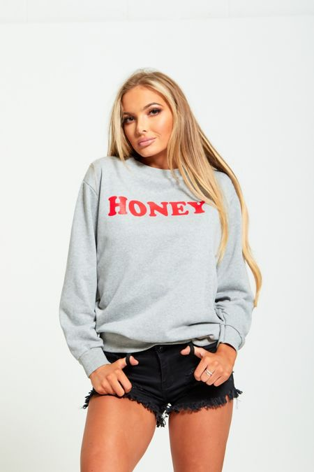 Grey Honey Print Pullover Sweatshirt