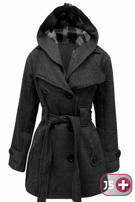 Plus Size Charcoal Double Breast Coat
