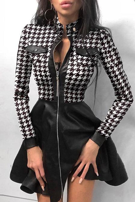 Black Houndstooth Print Zipper Pockets Design PU Dress