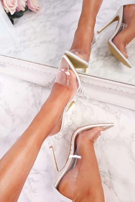 White Perspex Stiletto High Heels