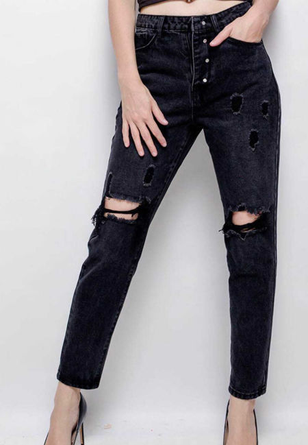 Black Denim Distressed Reversible Jean