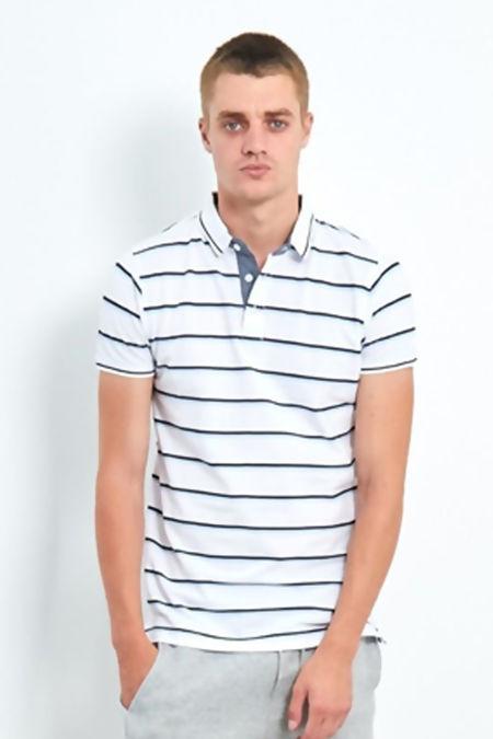 White Classic Multi Stripe Polo T-Shirt